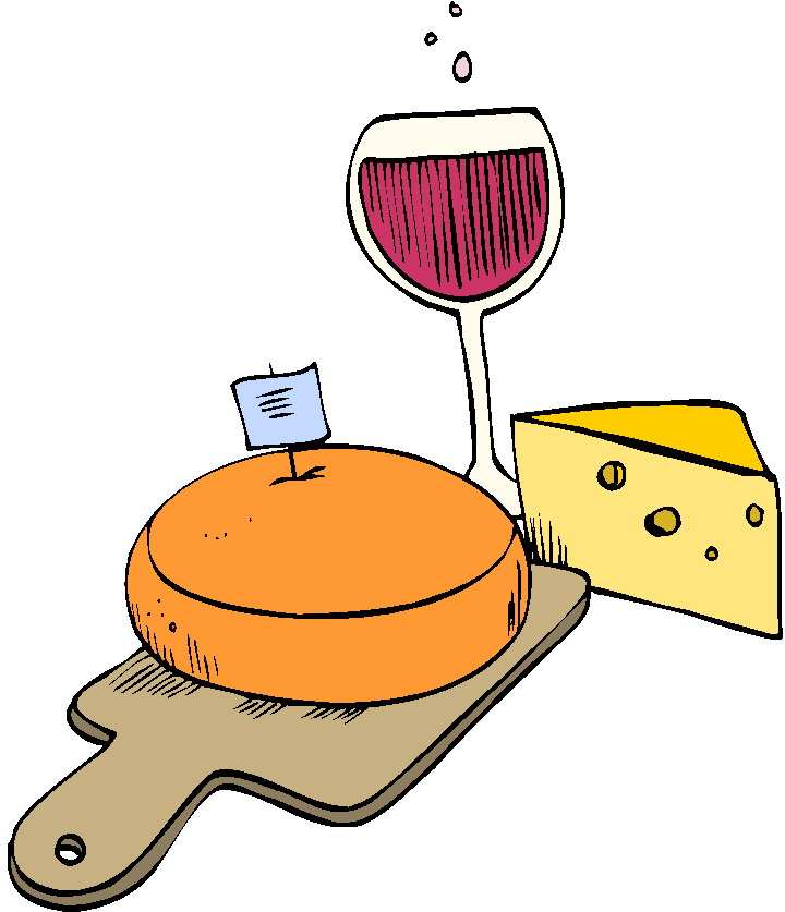 Afbeeldingsresultaat voor kaas en wijn tekening