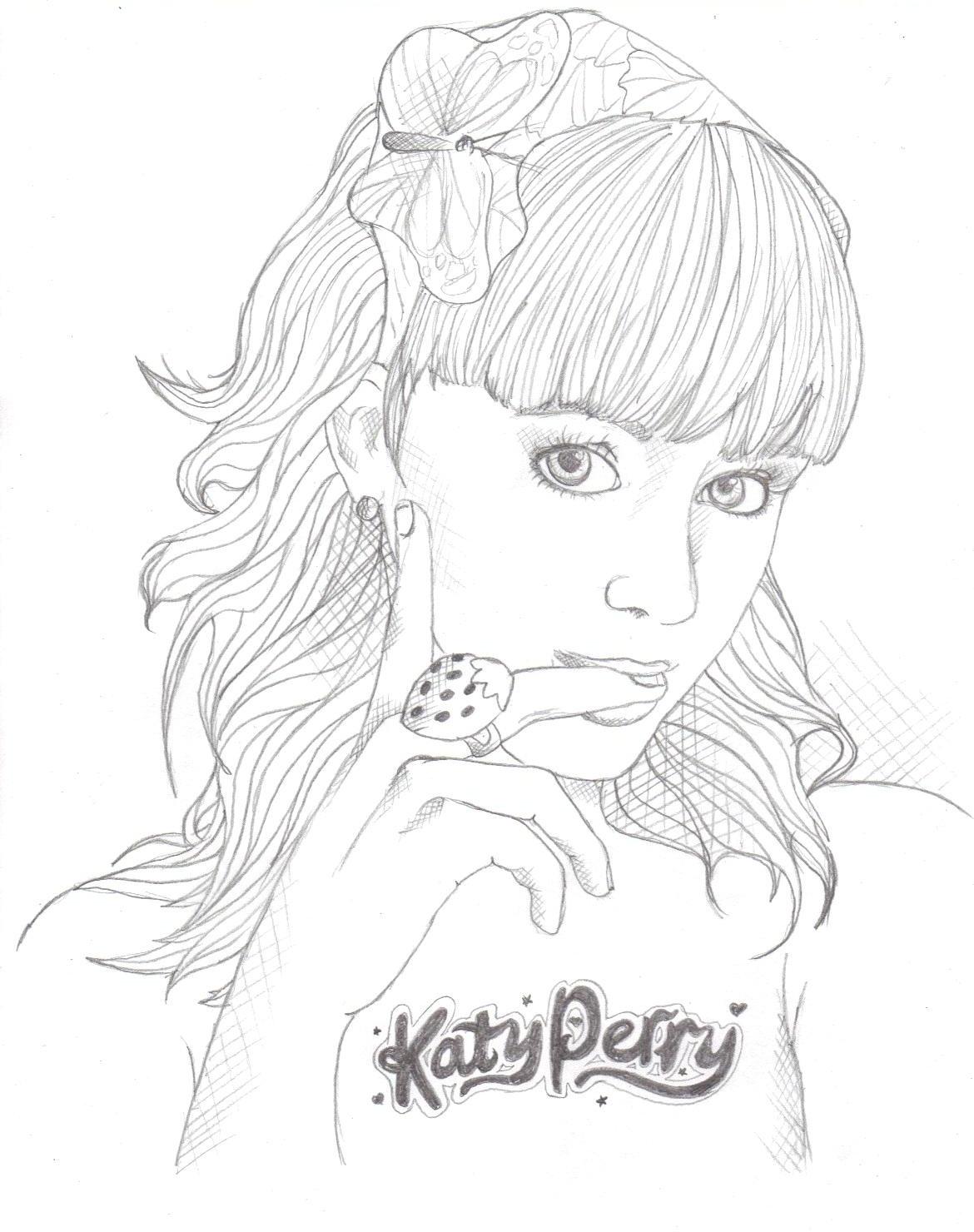 Kleurplaten Katy perry Beroemdheden kleurplaten
