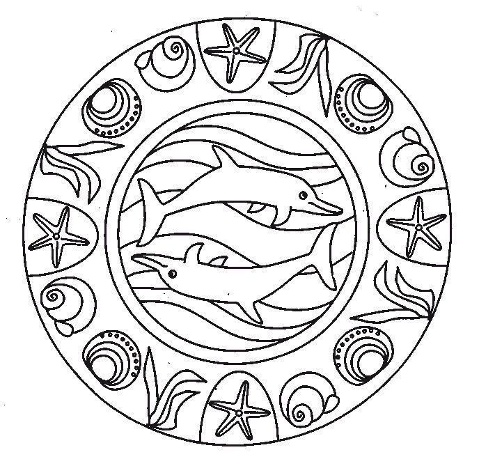 kleurplaten van dolfijnen mandala