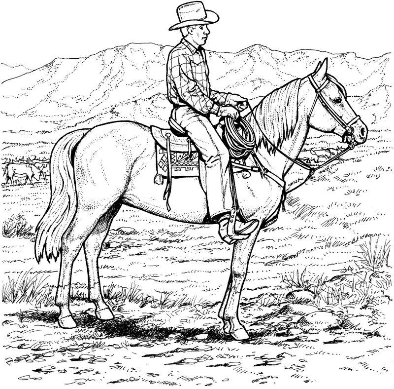 Kleurplaten Cowboy