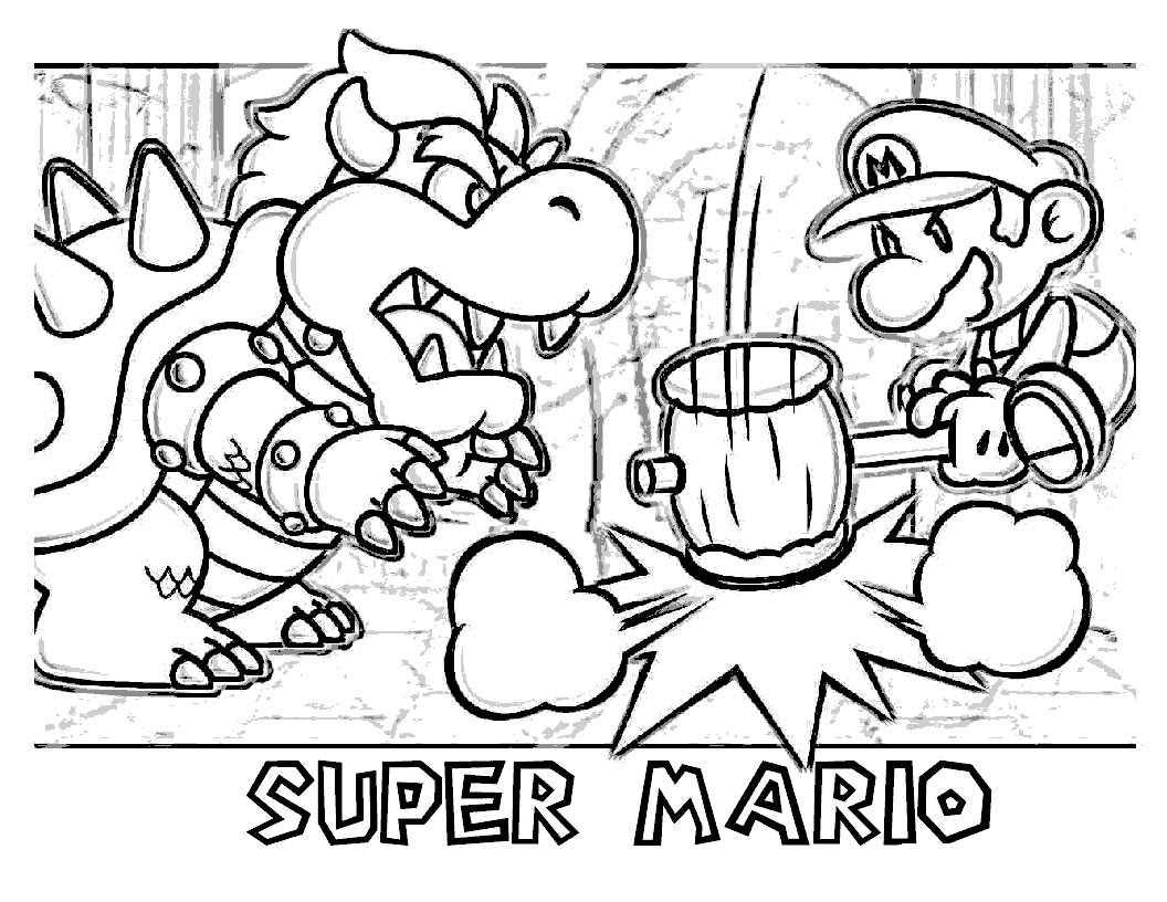 Kleurplaten Mario Bowser.Kleurplaat Mario En Bowser
