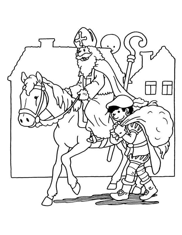 Kleurplaten Van Sinterklaas En De Pieten.Kleurplaat Sinterklaas Kleurplaat Sinterklaas En Zwarte Piet