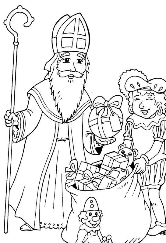 Kleurplaat Animaatjes Sinterklaas En Zwarte Piet 94728