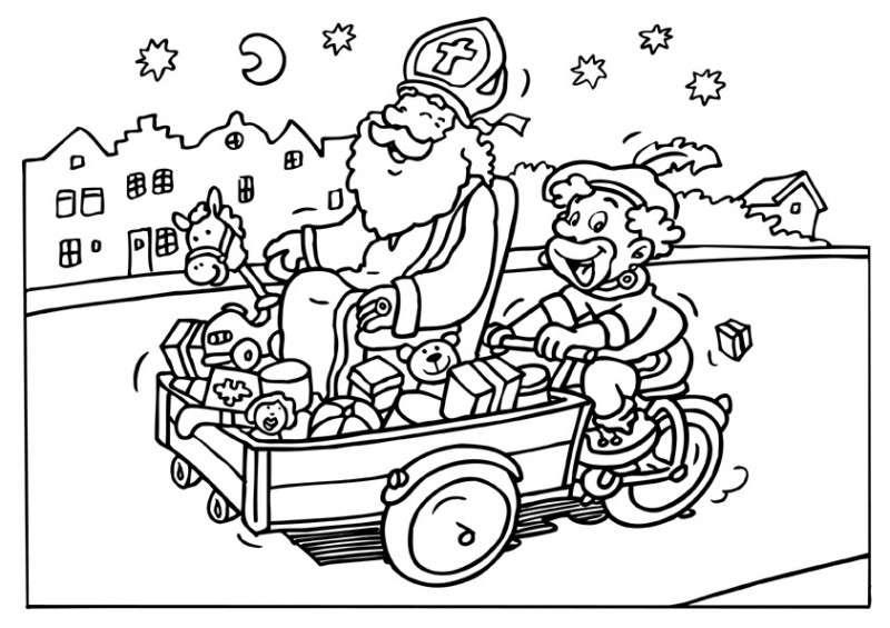 Kleurplaten Van Sinterklaas En De Pieten.Sinterklaas En Zwarte Piet Kleurplaten Animaatjes Nl