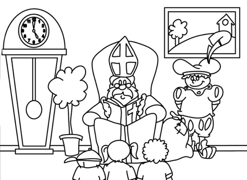 Kleurplaten Van Sinterklaas En Zwarte Piet.Kleurplaat Sinterklaas Kleurplaat Sinterklaas En Zwarte Piet