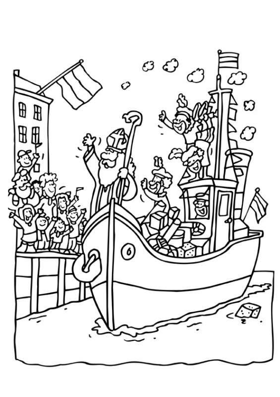 Kleurplaten Sinterklaas Zwarte Piet Stoomboot.Kleurplaat Sinterklaas Kleurplaat Sinterklaas En Zwarte Piet