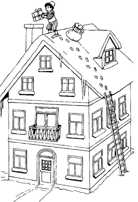 Kleurplaten Sinterklaas kleurplaten Sinterklaas op het dak