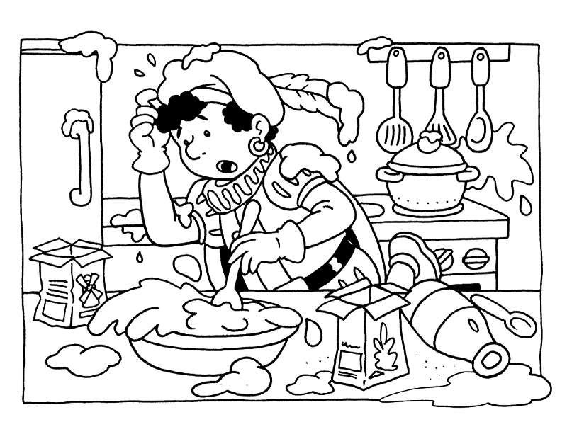 Kleurplaten Koken En Eten.Zwarte Piet Kleurplaten Animaatjes Nl
