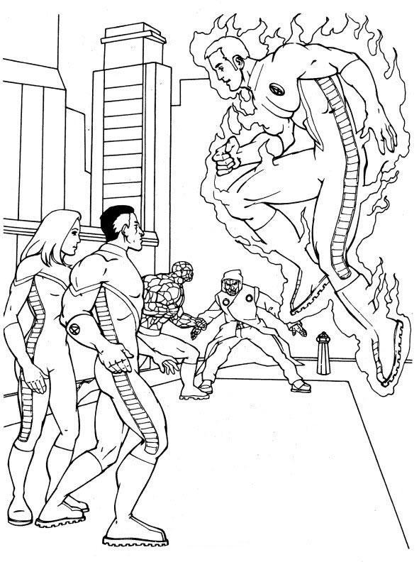Kleurplaten Fantastic four Superhelden kleurplaten