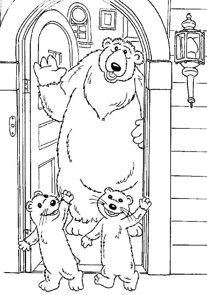 Kleurplaten Tv series kleurplaten bruine beer in blauwe huis
