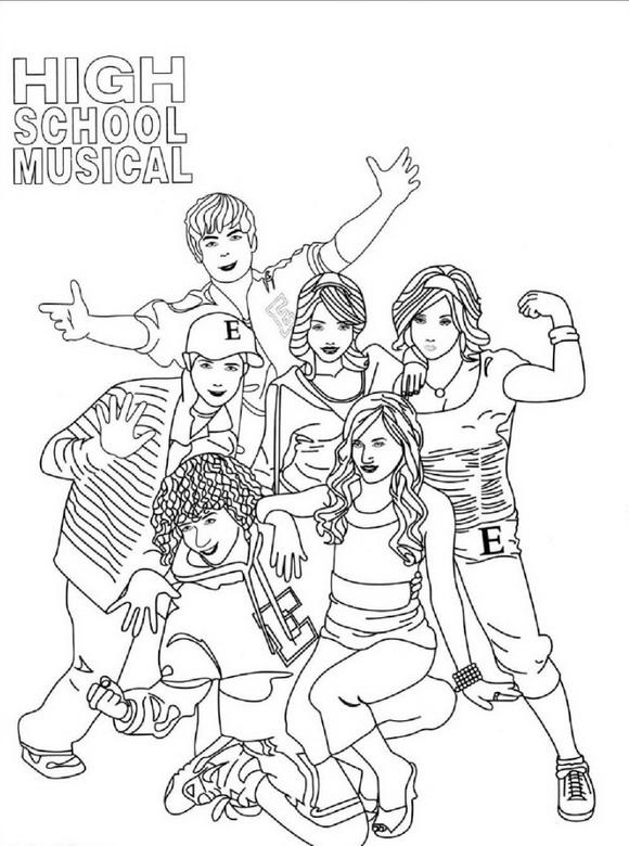 High school musical Kleurplaten Tv series kleurplaten