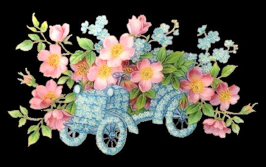 bloemen op oldtimer