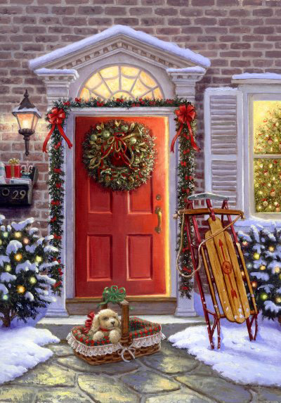 Plaatje kerst dieren Christmas card scenes to paint