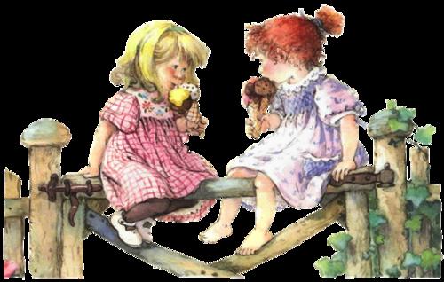 meisjes op hek