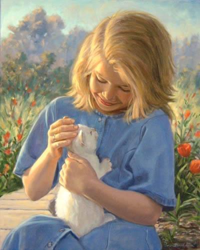 meisje met witte kitten