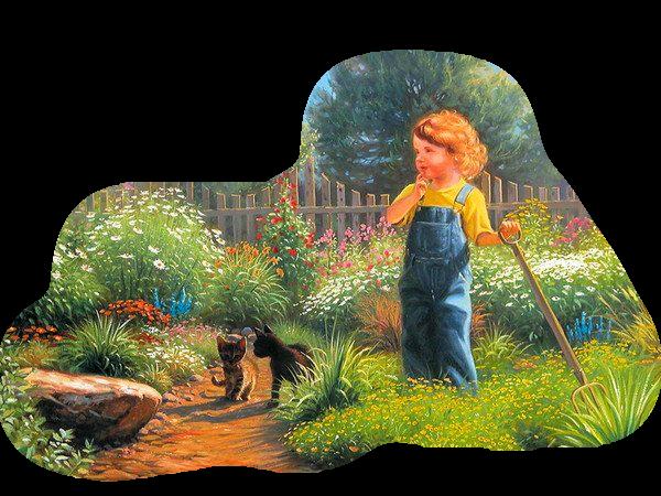 meisje in de tuin met 2 kittens