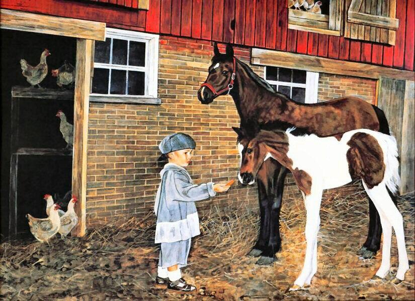kind met paarden bij boerderij kinderboerderij
