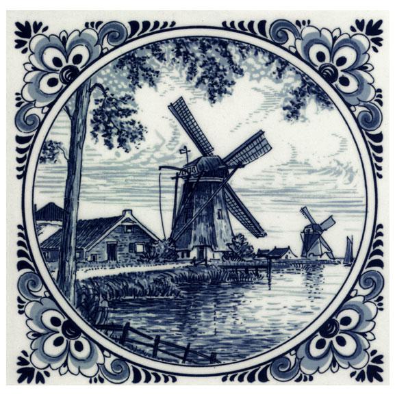Tegel Van Delfts Blauw Aardewerk Met Oud Hollandse Voorstelling ...