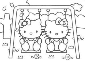 Kleurplaten Hello Kitty Met Hartjes.Hello Kitty Kleurplaten Animaatjes Nl