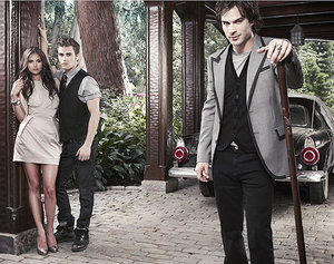 Wallpapers Film en serie The vampire diaries Damon En Stefan Salvator En Elena Gilbert Vampire Diaries